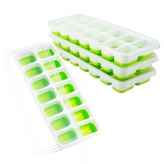 FH Brand  Ice Cube Trays Easy-Release Silicone and Flexible 14-Ice Trays with Spill-Resistant Lid green