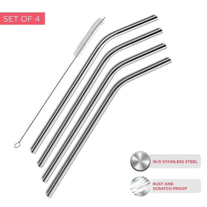FH Brand Extra Long Stainless Steel Drinking Straws Set of 4, 1 Cleaning Brush Included. one one