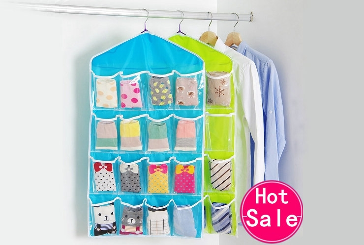 FH Brand 16 Grids  Buggy Bag Receive Underwear and Socks Storage Organizer Save Vertical Space Random 11