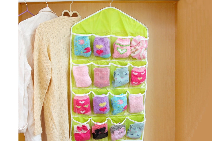 FH Brand 16 Grids  Buggy Bag Receive Underwear and Socks Storage Organizer Save Vertical Space Random 10