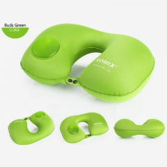 FH Brand 3 Seconds To Use,Foldable Travel Neck Pillow Avoid Blowing Suitable for Travel/ Office Rest Green
