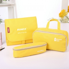 FH Brand  Foleding  Toiletry  Bag Waterproof Suitable for Travel and Outdoors Yellow A Set of 5