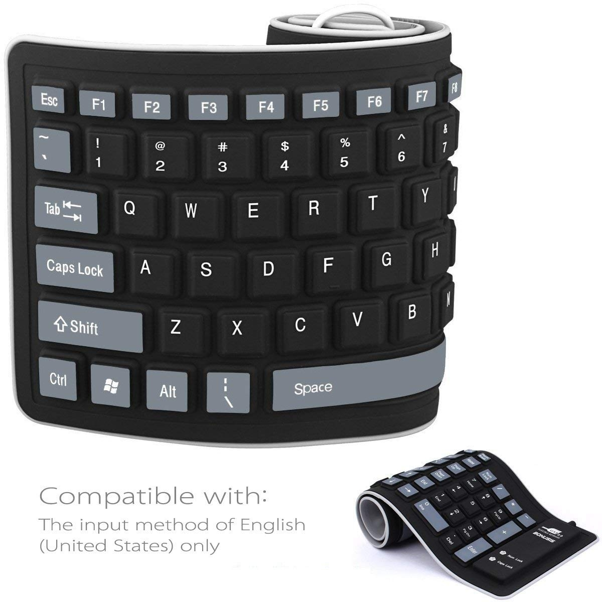 721cfbf60d7 ... Foldable Silicone Keyboard USB Wired Waterproof Computer Keyboard for  PC Laptop Notebook Black 84 Keys: Product No: 2399259. Item specifics:  Brand: FH