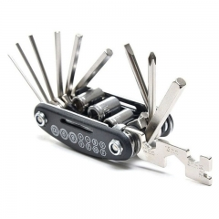 FH 15 in 1 Functional Road Mountain Bike Repair Tool Kits Portable Folding Bicycle Repairing Tools Black 9x 4.5x 2.5cm
