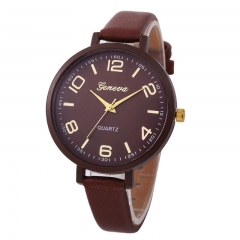FH Brand Fashion Thin Belt Women  Quartz Watch For Students and Lady Brown 22cm