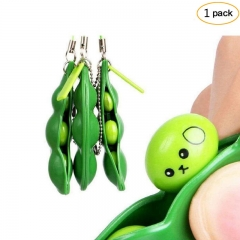 FH Brand 1pack  Squeeze Bean Stress Relief Fidget Bean Squishies Toys Keychain Improve Focus Toy Green 7*2*1.5cm