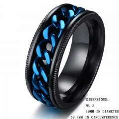 FH Brand High Quality Stainless Steel Plating Blue Spinner Chain Rings for Man Blue 9