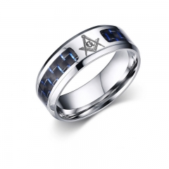 FH Brand Stainless Steel Men's Rings Blue + Black Colour Mixture Carbon Fiber Ring Mixture 9