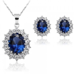FH Brand1 Set of 3 Necklace Princess Kate & Diana Royal Blue White Gold plate Pendant High Quality Blue 1 Set of 3