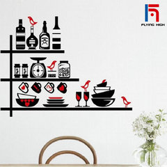 FH Brand Fashion Modern Home Decorations Can remove PVC Dining Room Wall Stickers for Kitchen Colorful 61cm*87cm