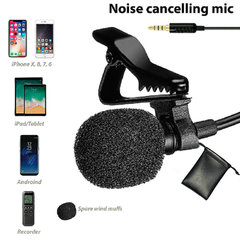 FH Brand  Microphone with Easy Clip On System - Perfect for Recording Podcast - Best Lapel Mic Black Change Wired