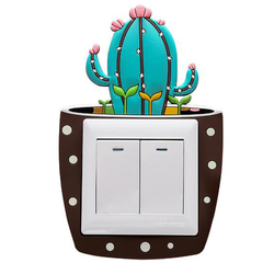 FH Brand  Creative Luminous Switch Wall Paste Cactus Switch Patch Cartoon Style Switch Sticker Colorful 8.6cm*8.6cm