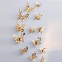 FH Butterfly Wall Stickers 12 Pcs 3D Wall Stickers Wallpaper FridgeforWalls/Doors/Metal/Tiles Gold 12cm/10cm/8cm