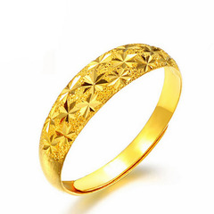 FH Adjustable 18K  Gold-Plated Ring Wedding Ring Yellow Copper Gold-Plated for Men Women Comfort Fit Golden Adjustable