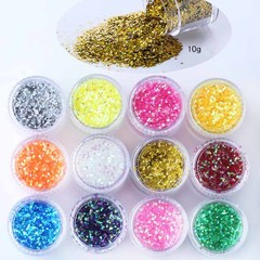 FH 12Color Laser Nail Illusion Powder Flash Nail Art Stickers Decals Decorations DIY Self Adhesive Colorful