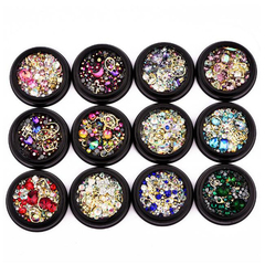 FH 1Pacs Nail Rhinestone Manicure Ornament Magic Color Point Bottom  Flat Drill Pearl Jewelry Mixed Multi