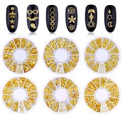 FH Metal Nail Studs 3D Punk Stripe Plants Rivet Gems Punk Nail Art Jewels DIY Decoration Accessories Gold