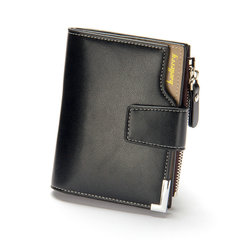 FH Business Leisur MenWallets Multi-functional Leather Clip Zipper With  Three-fold Card Pocket one color one size