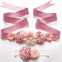 FH Women's Child Dress Belt Maternity Sash Belt Flower Baby Girl Sash Belt Bridal Sash Belt