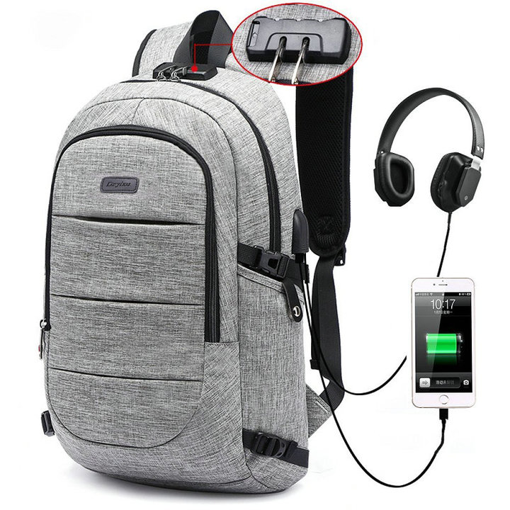 FH Brand 17-Inch Bags Business Laptop Backpack Waterproof  USB Charging Port & Headphone interface gray 17-inch