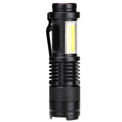 FH LED COB Mini Flashlights Ultra Bright 4 Modes Waterproof Adjustable Focus Handheld Flashlight Black LED