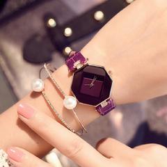 FH Fashion Analogue Quartz Ladies Watches Glass Dial Wrist Watches Diamond Design For Women&Students Purple 23cm