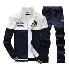 FH Men's Clothing Suit Stripling Version of The Fashion Students Youth Leisure Sports Jacket+Pants White XL