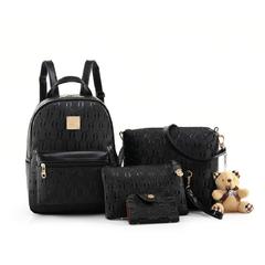 FH Women PU Leather Bages Leisure 4 Pcs/Set Backpack + Shoulder Bag+ Wallet + Card bag For Girl Black 4 Pcs/Set