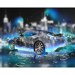 FH 3D Wallpaper -  The Noble Car In Rain, Can Be Customized Products,Non-woven Paper Material As picture 240cm*420cm