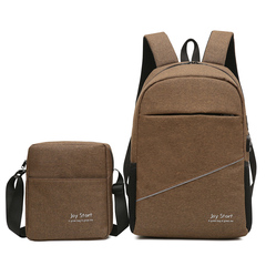 FH 1Set of 2 ,Leisure Travel Backpack Male Multi-functional Man Business Notebook Computer Bags Brown 24X20X6CM/45X29X14CM