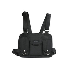 FH Fashion Chest bag, Durable Nylon Shoulder Bag Hip-hop Pockets For Riding & Outdoor Hike Travel Black 30cmx3cmx23cm
