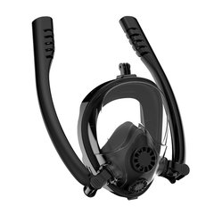 FH Snorkel Mask, Full Face Snorkeling Mask with Advanced Free Breathing System, 180°Panoramic View Black XL