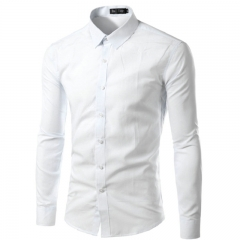 FH 2019 Fashion Plus Size Slim Fit Cotton Men Dress Shirts Long sleeve Mens Casual Social Shirts White M