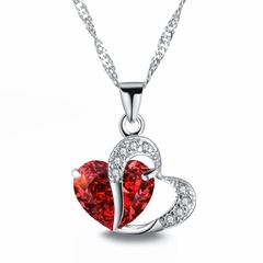 FH Heart-shaped Zircon Crystal Necklace Chain Clavicle Women Heart Rhinestone Pendant Jewelry 1 43cm