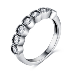 FH High-end Ladies' Rings With Seven Diamond,Fashion Accessories Suit For Party\Business\Engagement White Gold 7