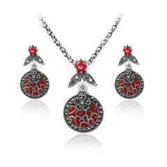 FH Lady Vintage Cutout Pendant Suit,Fashion Accessories Suit For Women Party\Business\Engagement Red 45+5cm