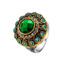 FH Lady Vintage Alloy Luxury Emerald Ring,Fashion Accessories  For Women Party\Business\Engagement Green 7