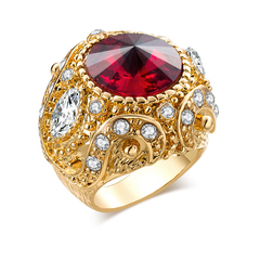 FH Lady 18K Gold Luxury Crown Zircon Ring,Fashion Accessories  For Women Party\Business\Engagement Red 7