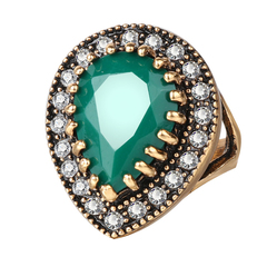 FH Lady Diamante Vintage Drop Jewel Ring,Fashion Accessories For Women Party\Business\Engagement Green 7