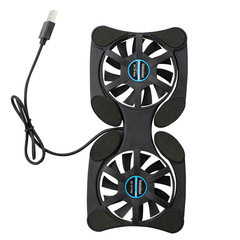 FH Universal Foldable USB Laptop Cooler With 2 70MM Silent Cooling Fans for Most Notebook from 7-15' Black 170*85*20mm