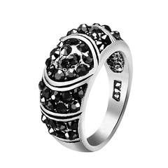 FH Fashionable Lady's Rings, Exquisite And Contracted Design Diamond Ring For Women Accessories Black 7