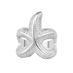 FH Fashionable Lady's Rings, Exquisite&Contracted Starfish Design Diamond Ring For Women Accessories Silver 7
