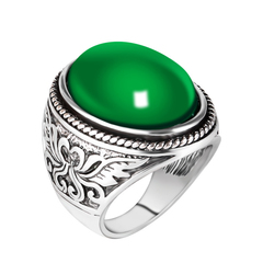 FH Fashionable Men's Rings, Exquisite&Contracted Design Emerald Totem Ring For Men's Accessories Green 7