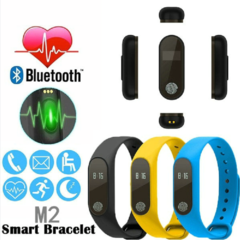 FH M2 BluetoothWristBand Display Fitness Tracker with Heart Rate Monitor Smart Watch with Pedometer Black M2