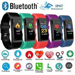 FH Fitness Tracker Activity Heart Rate Monitor Waterproof Smart Bracelet Calorie Pedometer Watches Classic Black 115plus