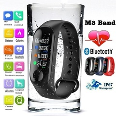 FH M3 FitnessTracker Waterproof Smart WristBand Watch OLED Display Touchpad Heart Rate Monitor Black M3