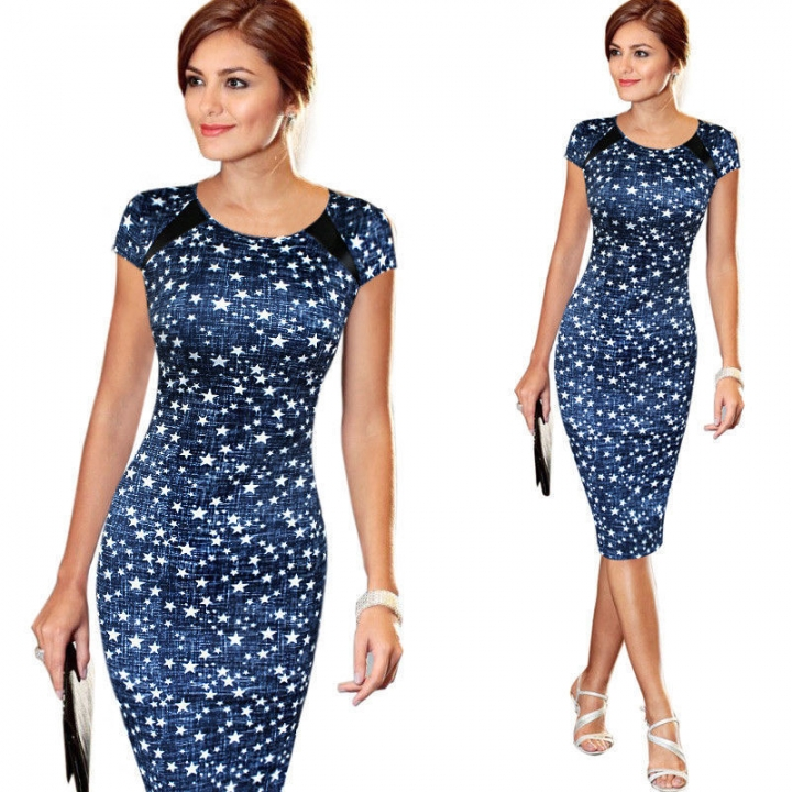 Sought-After dresses New Women Bandage Bodycon Short Sleeve Party Midi dress blue xl
