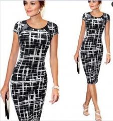 Sought-After dresses New Women Bandage Bodycon Short Sleeve Party Midi dress black s