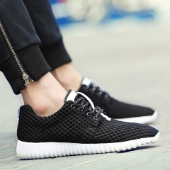 Summer  sports shoes hollowed out reticulate leisure mens shoes breathable net shoes black 41