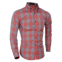 Dress Classic grand men's casual long sleeved shirt orange l